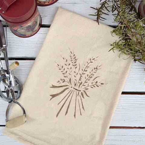 Wheat Bouquet Stenciled on Towel
