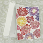 Flowers Zinnia Daisy Peony Stencil on Greeting Card