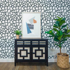 Giraffe Print on Wall with Stencil with plants