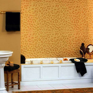 Leopard Print Wall Painting Stencil in Bathroom