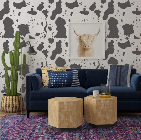 Small Cowhide Print Wall Stencil
