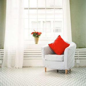 Herringbone Wall Stenciled on the Floor