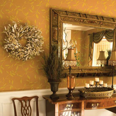 Leaf Scroll Wall Painting Stencil Dining Room