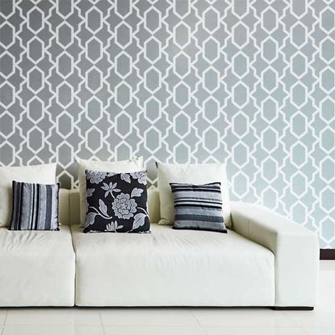 Safi Wall Painting Stencil in Living Room