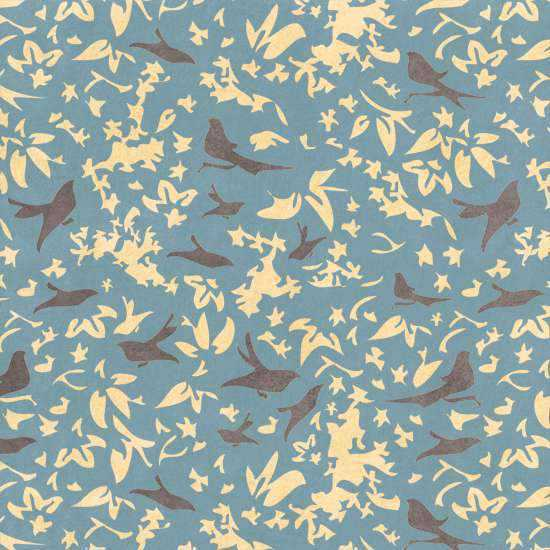 Birds in a Thicket Blue Wall Painting Stencil