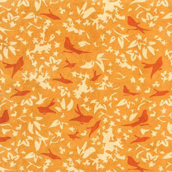 Birds in a Thicket Orange Wall Painting Stencil