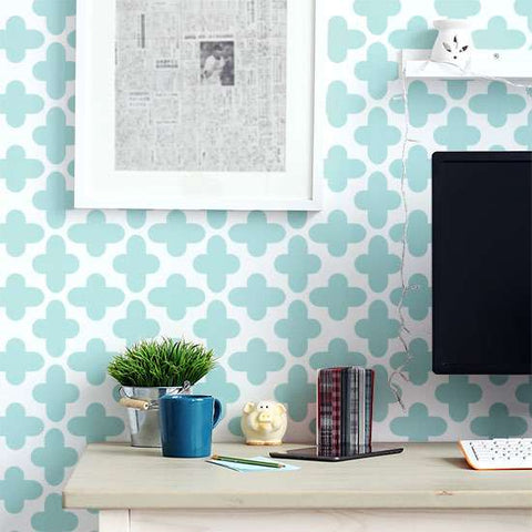 Quatrefoil Wall Stencils in Office