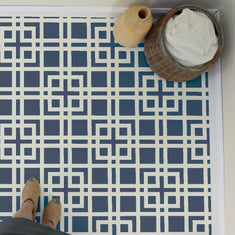 Modern Lattice Wall Stencil on Tile Stencils