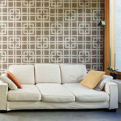 Modern Lattice Wall Painting Stencil Room