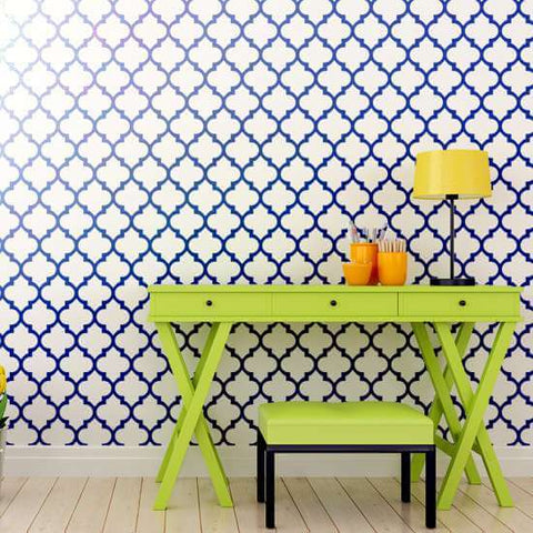 Agadir Wall Stencils shown in blue