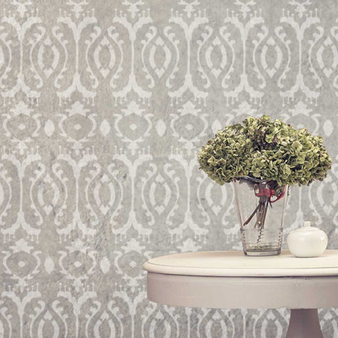 Burmese Ikat Wall Stencils in grey with cream table