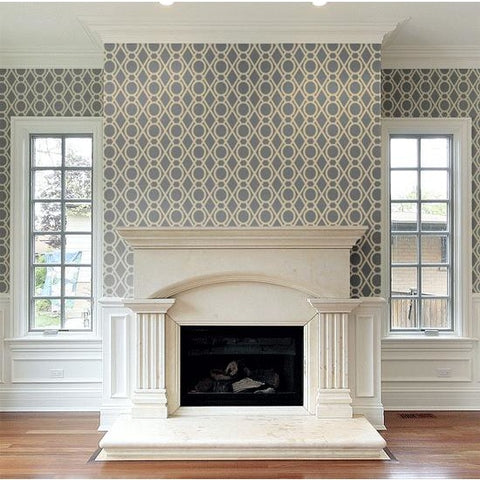 Shelton Wall Painting Stencil Fireplace