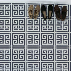 Crete Greek Key Wall Stencil painted using floor stencils and tile stencils