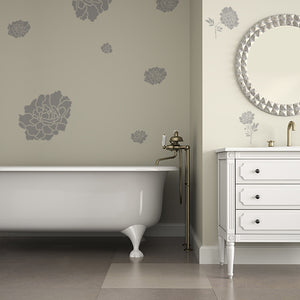 Heirloom Peony Stencil in Bathroom