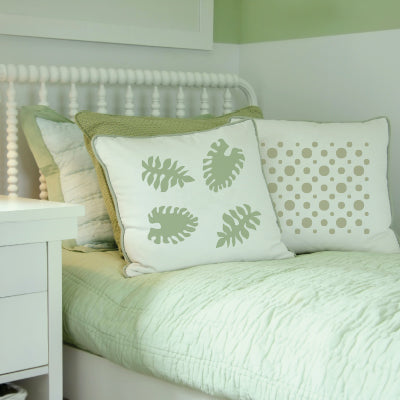 Philodendron Stencil on Pillow