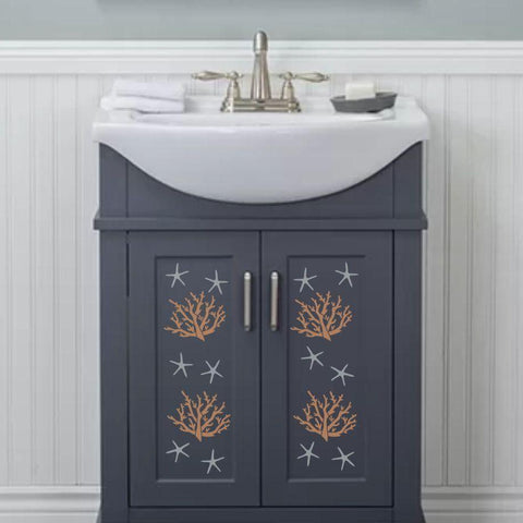 Coral Stencil Painted on Vanity