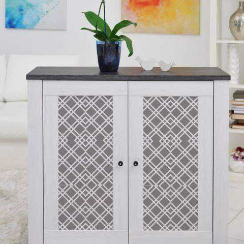 Cornelius Designer Stencil Painted on sideboard