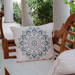 Boho Medallion Wall stencil used as Pillow Stencils