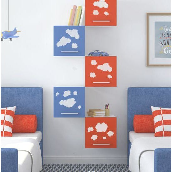 Clouds Long Format Stencil painted on Shelves