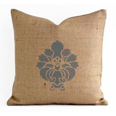 Damask Motif Stenciled Pillow Stencils