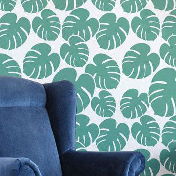Philodendron All Over Large Stencil Closeup