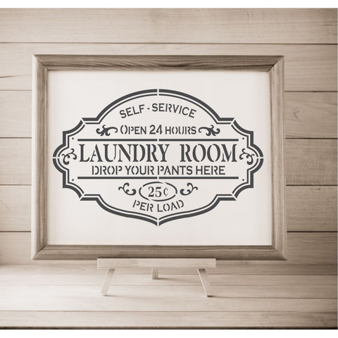 Laundry Room Stencil framed artwork