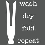 Wash Dry Fold Repeat Wall Stencil