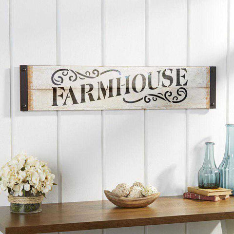 Farmhouse Sign Stencil Painted on Barn Board