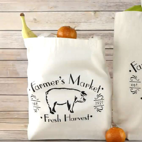 Farmer's Market Craft Stencils Tote Bag