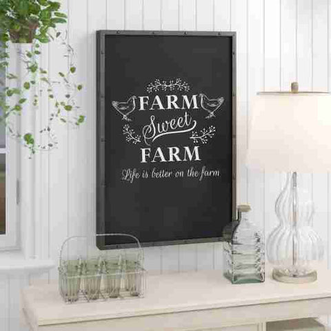 Farm Sweet Farm on Framed Chalkboard