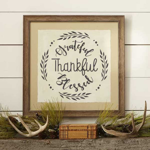 Grateful Thankful Blessed Craft Stencil