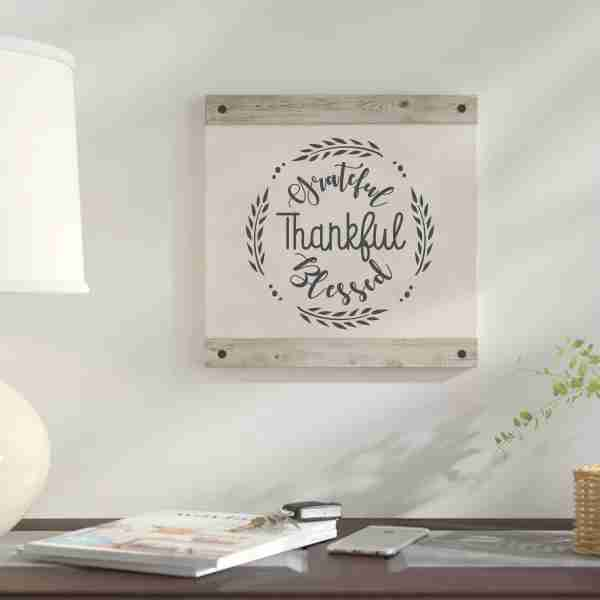 Grateful Thankful Blessed Stencil canvas and wood