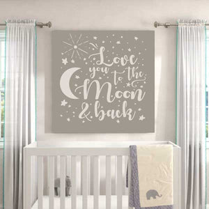 Love you to the Moon and Back Star Burst Stencil