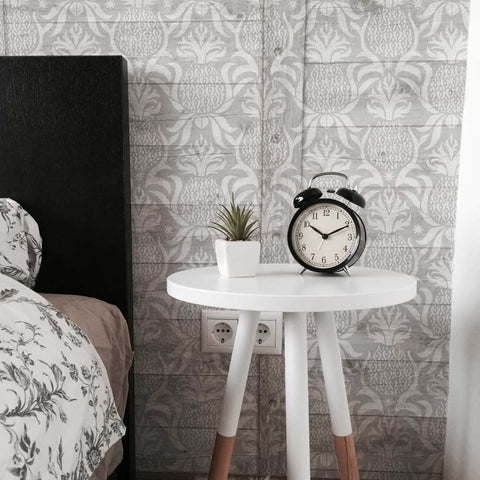 Modern take on Antique Pineapple Wall Stencil in Bedroom