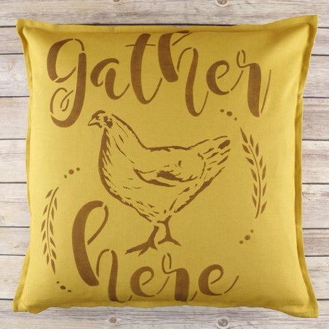 Gather Here Farmhouse Wall Stencil