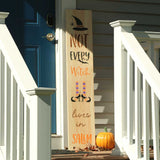 Not Every Witch Lives in Salem Vertical Porch Stencil. Get your witch on with our Halloween themed Porch Stencils!