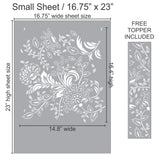 Floral Batik Wall Stencil. Free Topper included with your stencil!