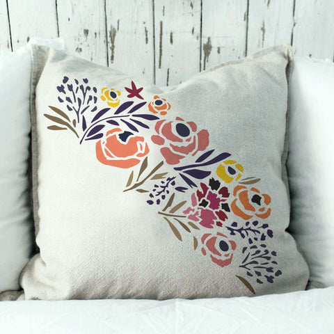 Folksy Bloom Border Stencil. You can use this as a Pillow Stencil as well!