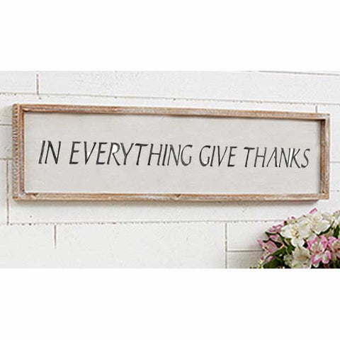 In Everything Give Thanks Stencil on Sign