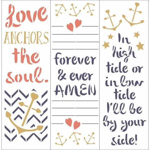 Steadfast Anchor Wedding Wall Stencil