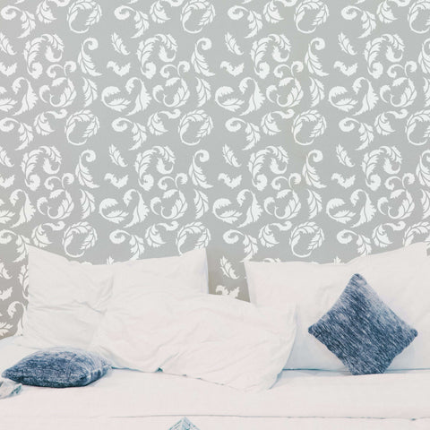 Acanthus Wall Stencils shown on bedroom wall.