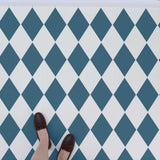 Large harlequin wall stencil used on floor stencils and tile stencils