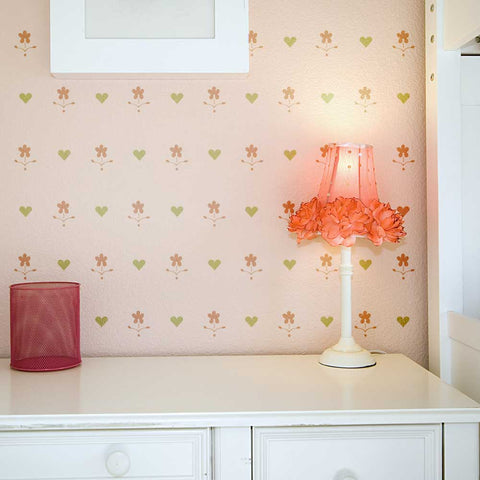 Use our Hearts and Flowers Wall Stencil to add a little whimsy to a room!