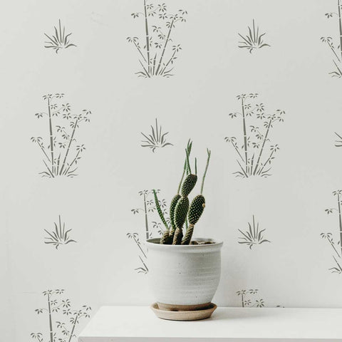 Bamboo Wall Stencils shown on white wall.