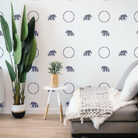 Elephants Wall Stencil