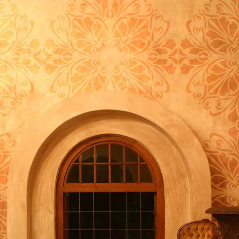 Floral Medallion Wall Painting Stencil