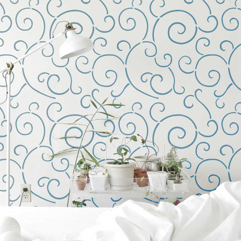 Spiral Scroll Wall Stencil by Oak Lane Studio