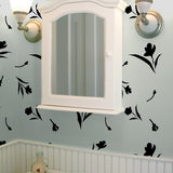 California Floral Wall Stencil in Bathroom