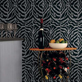 Zebra Print Wall Painting Stencil Bar Room