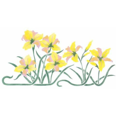 Day Lily Border Stencil